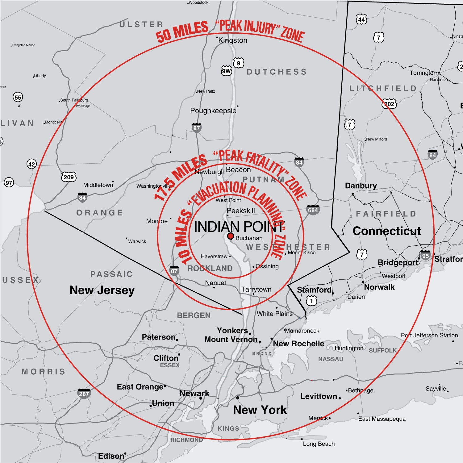 Indian Point 50 mile Radius Map